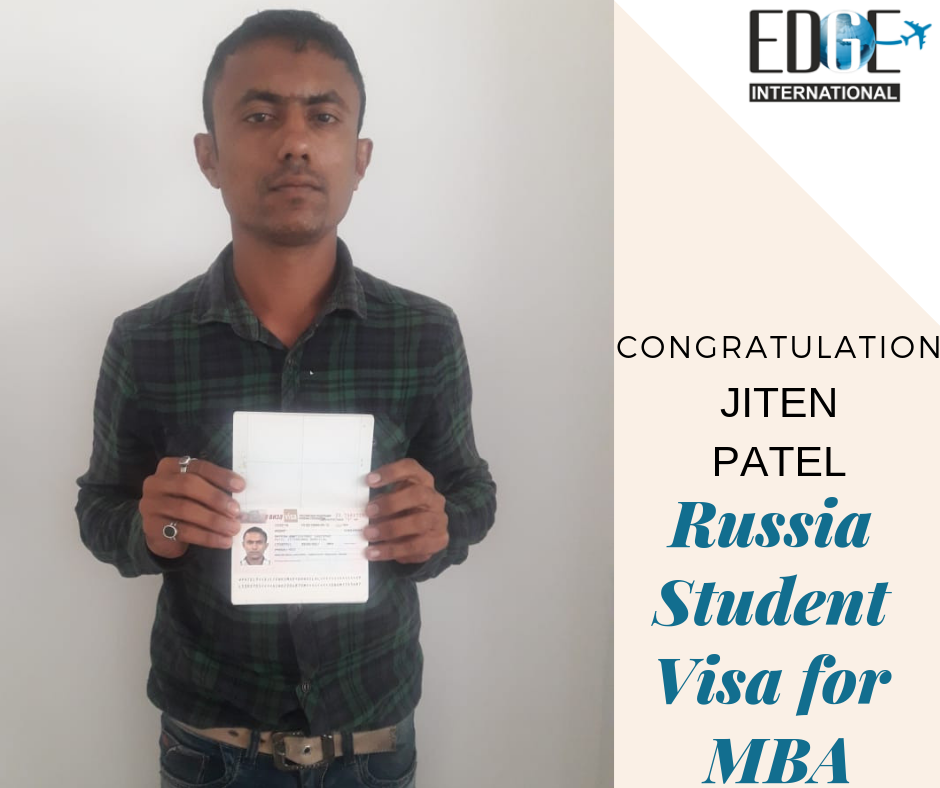 CONGRATULATIONS Jiten Patel on Getting his STUDENT VISA FOR