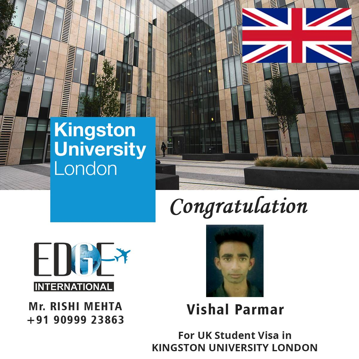 Congratulation to our student Vishal Parmar on getting his