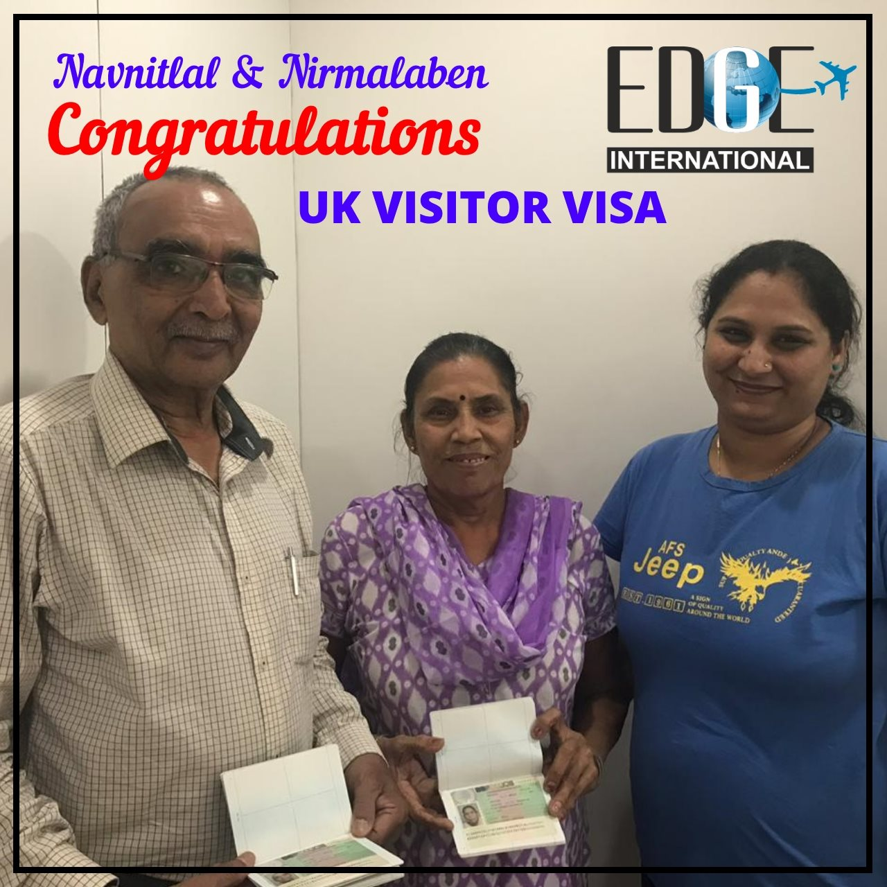 Congratulations to Navnitlal amp Nirmalaben for getting UK Visitor