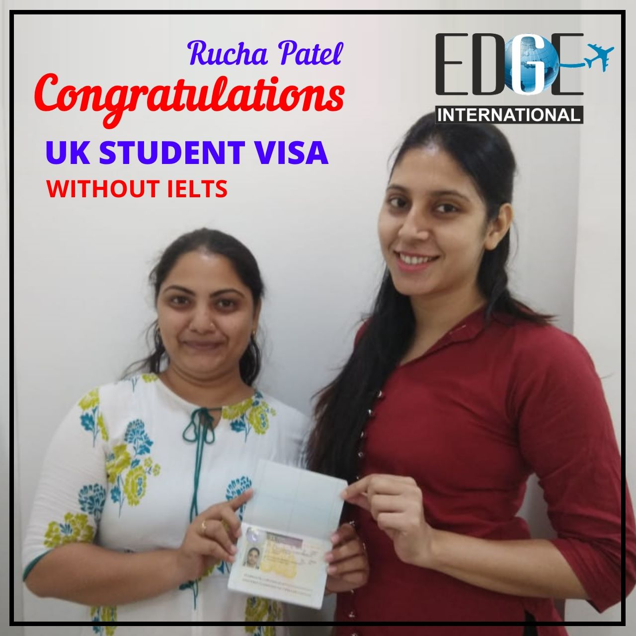 Congratulations to Rucha Patel for getting UK Student visa