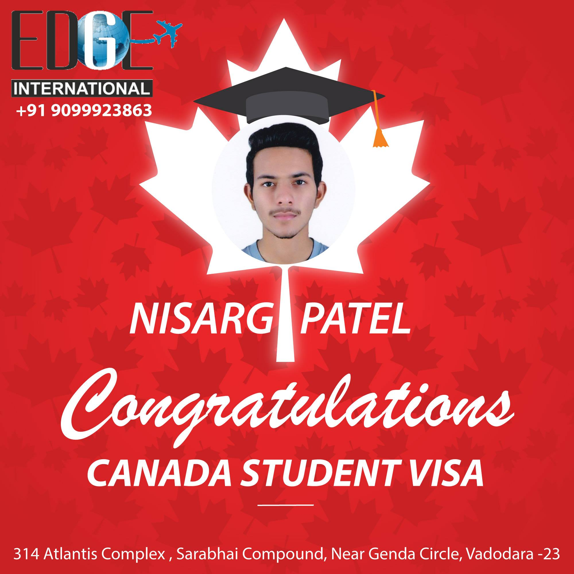 Many Congratulations to Nisarg Patel for CanadaStudentVisa for January