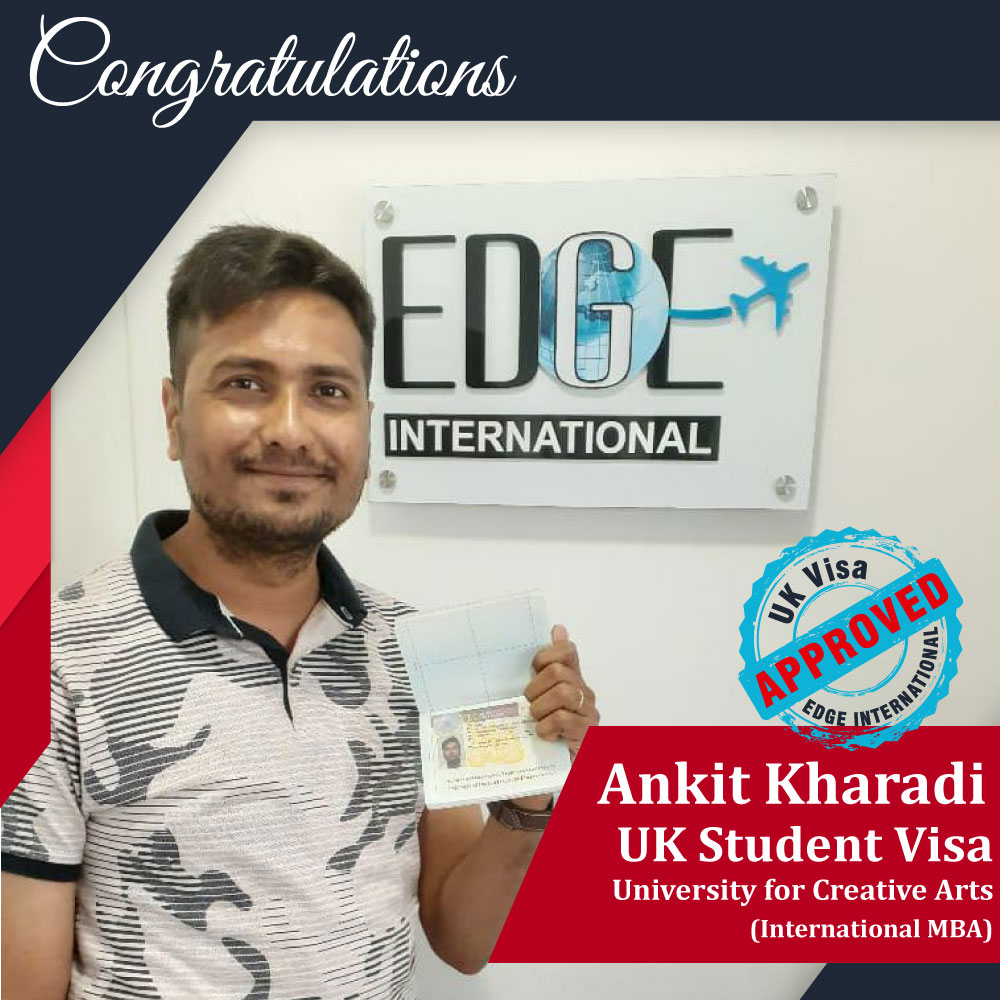 Congratulations Ankit Kharadi for securing UKStudentVisa for in University