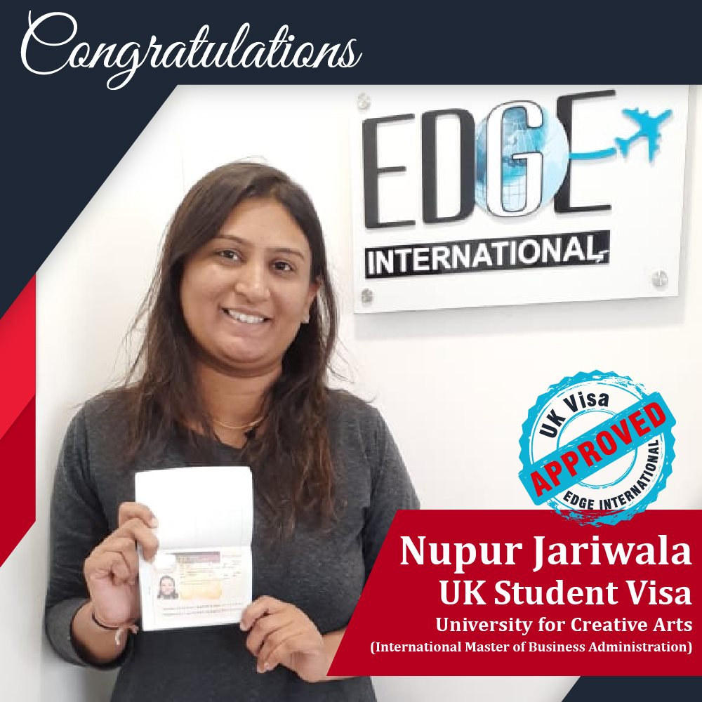 Congratulations Nupur Jariwala for getting 16 months UKStudentVisa in