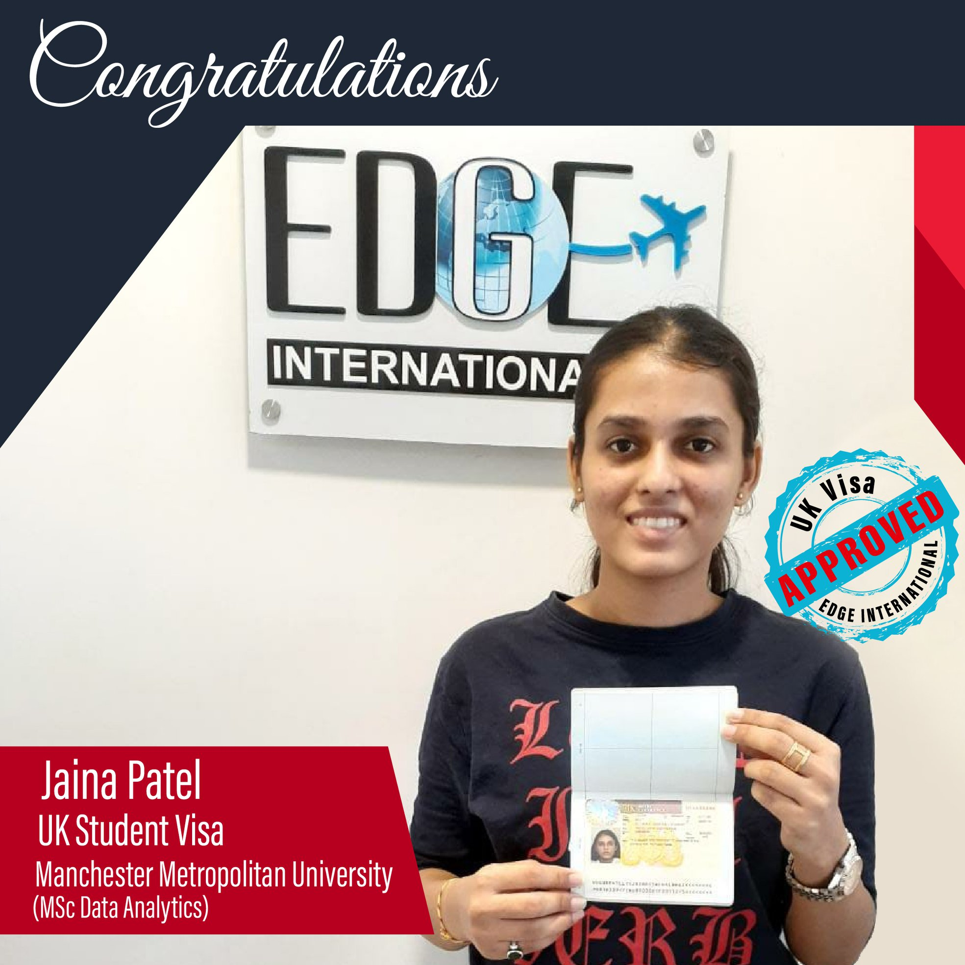 Congratulations 𝗝𝗮𝗶𝗻𝗮 𝗣𝗮𝘁𝗲𝗹 for Securing UKStudentVisa at