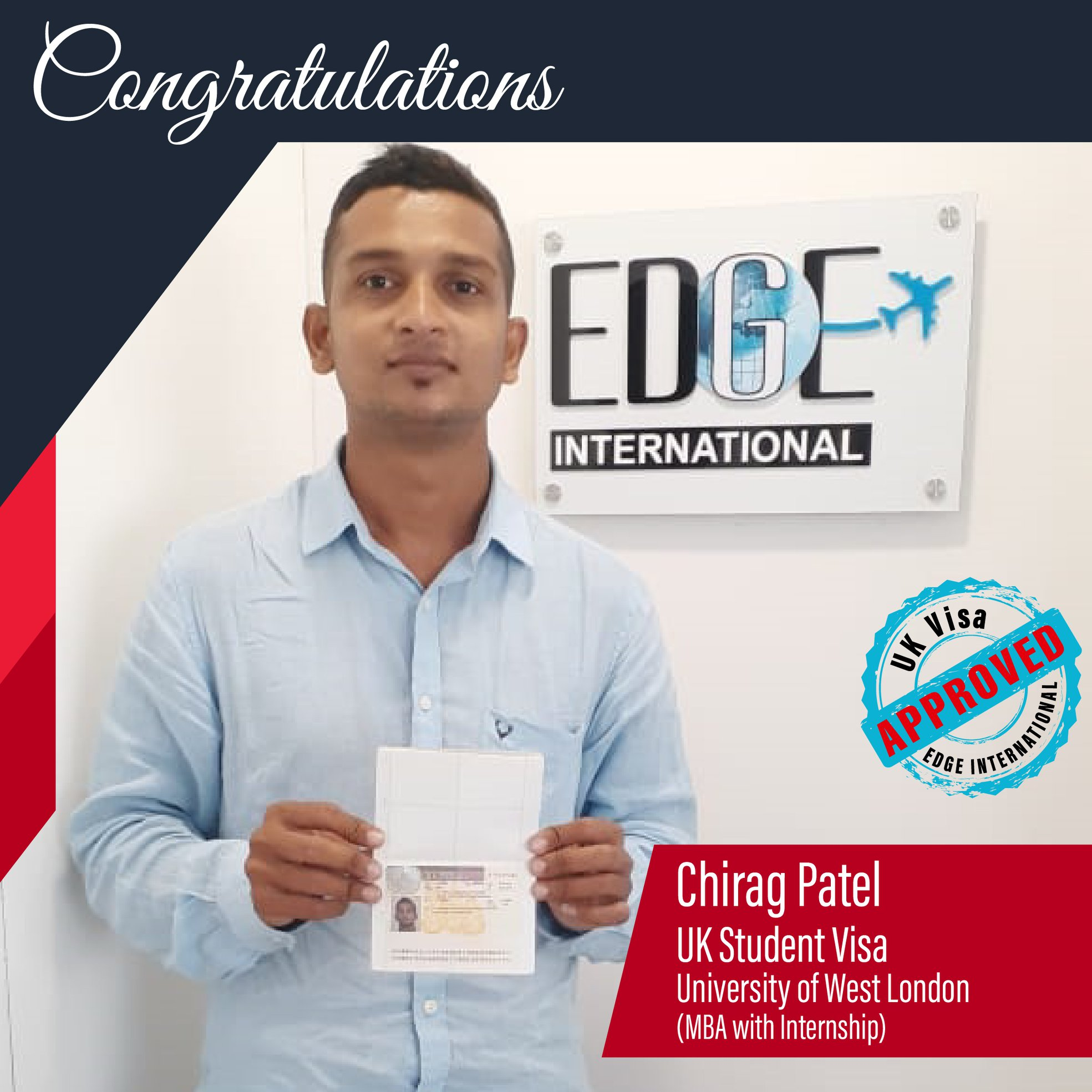 Congratulations 𝗖𝗵𝗶𝗿𝗮𝗴 𝗣𝗮𝘁𝗲𝗹 for securing UKStudentVisa for MBA with