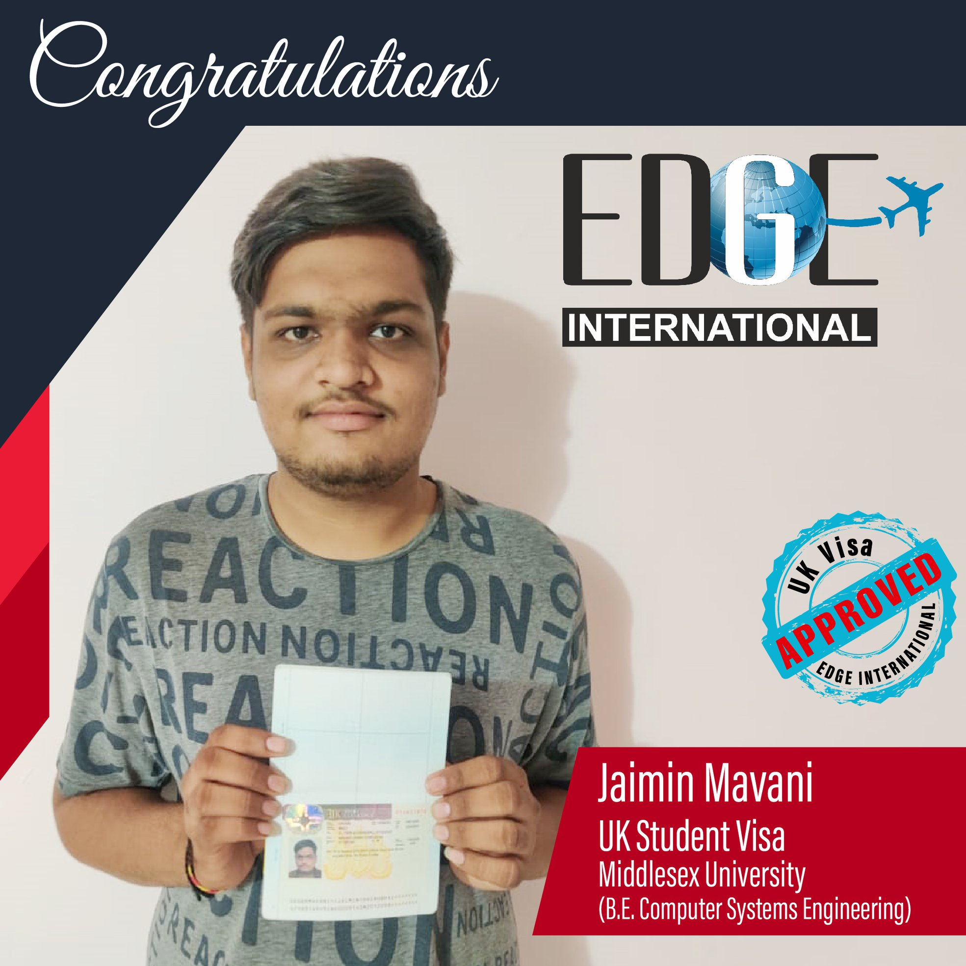 Congratulations 𝗝𝗮𝗶𝗺𝗶𝗻 𝗠𝗮𝘃𝗮𝗻𝗶 for Securing UKStudentVisa at