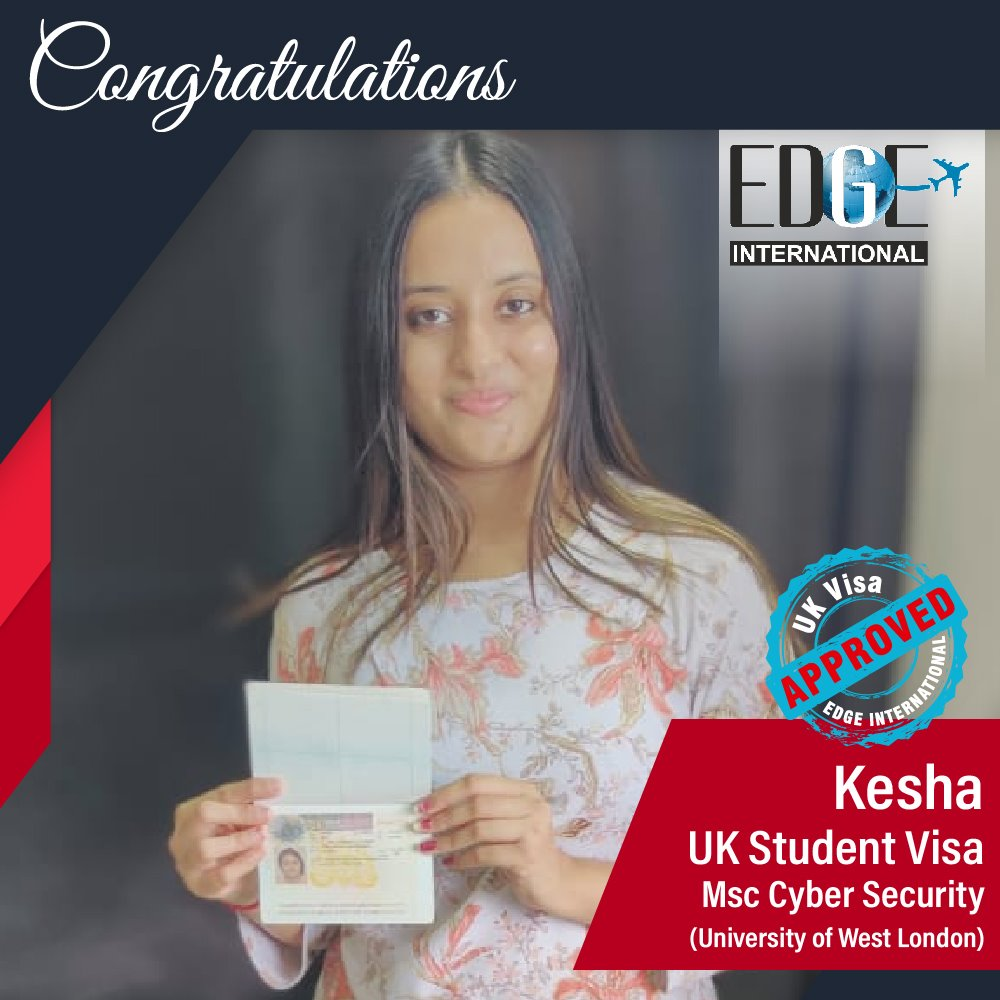 Congratulations 𝗞𝗲𝘀𝗵𝗮 for Securing UKStudentVisa at University of