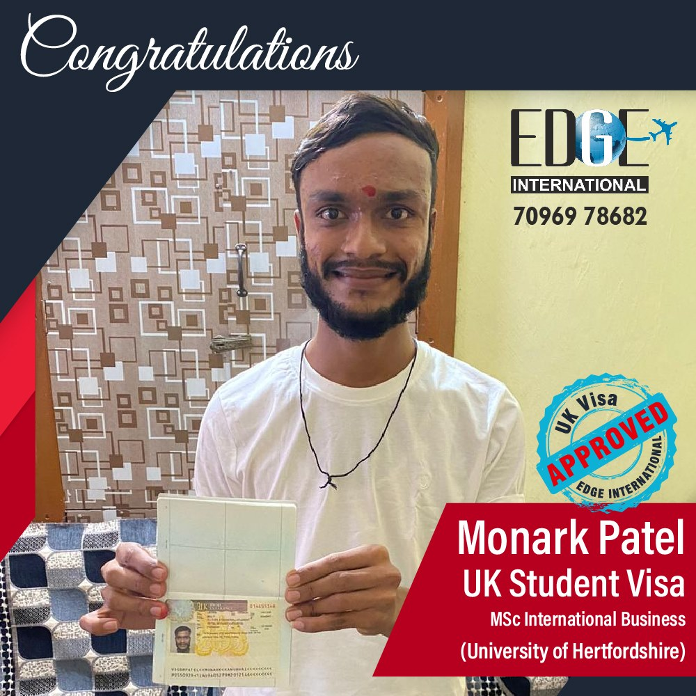 Congratulations 𝗠𝗼𝗻𝗮𝗿𝗸 𝗣𝗮𝘁𝗲𝗹 for Securing UKStudentVisa at University of