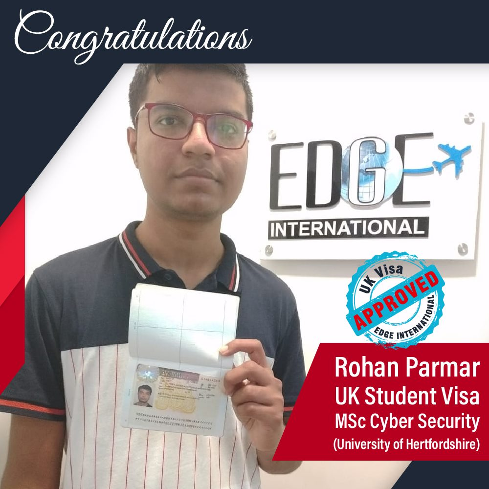 Congratulations 𝗥𝗼𝗵𝗮𝗻 𝗣𝗮𝗿𝗺𝗮𝗿 for getting UKStudentVisa for 𝗠𝗦𝗰 𝗖𝘆𝗯𝗲𝗿