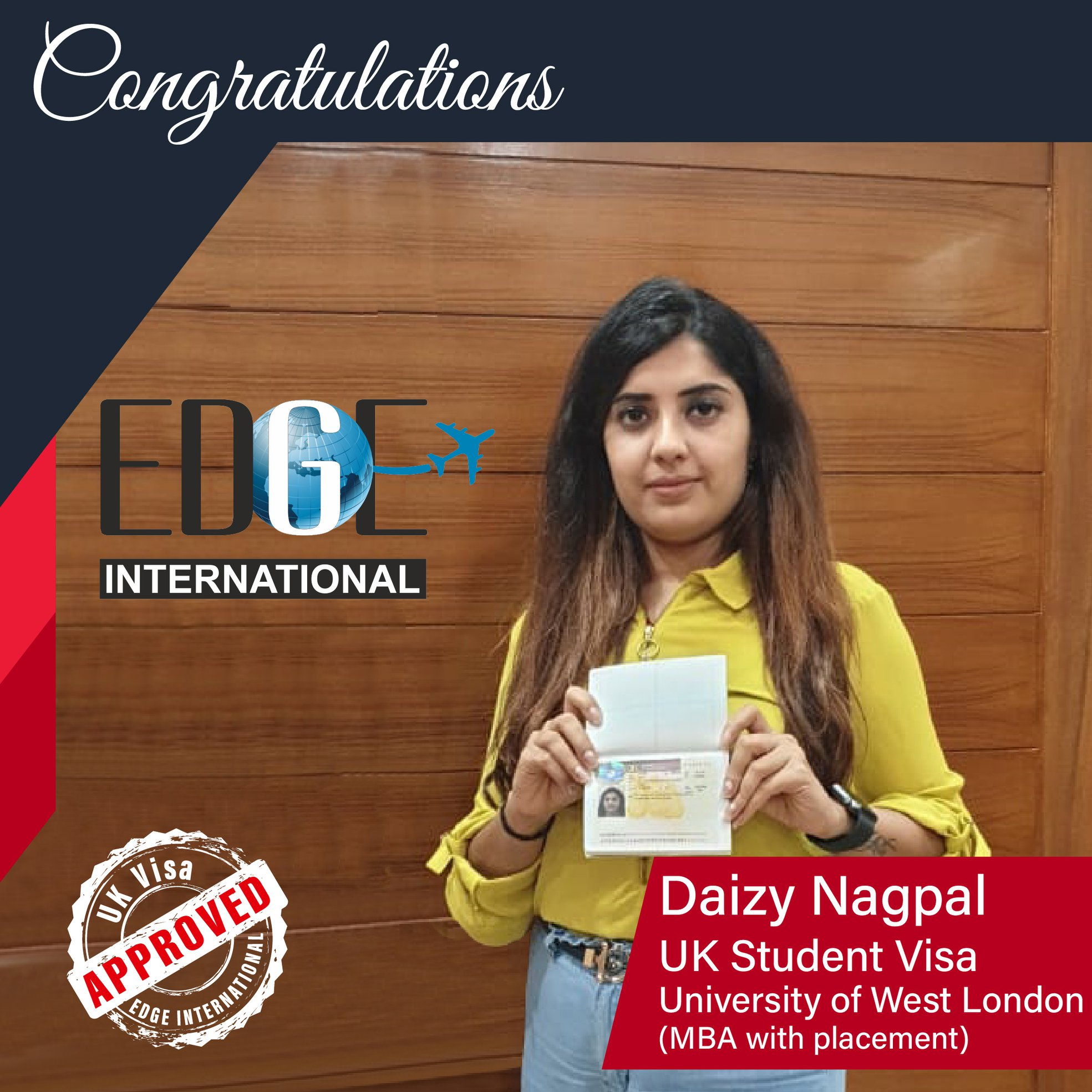 quot Congratulations 𝗗𝗮𝗶𝘇𝘆 𝗡𝗮𝗴𝗽𝗮𝗹 for Securing UKStudentVisa at