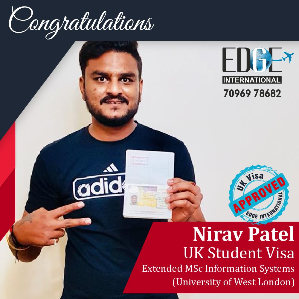 Congratulations 𝗡𝗶𝗿𝗮𝘃 𝗣𝗮𝘁𝗲𝗹 for getting UKStudentVisa for Extended 𝗠𝗦𝗖
