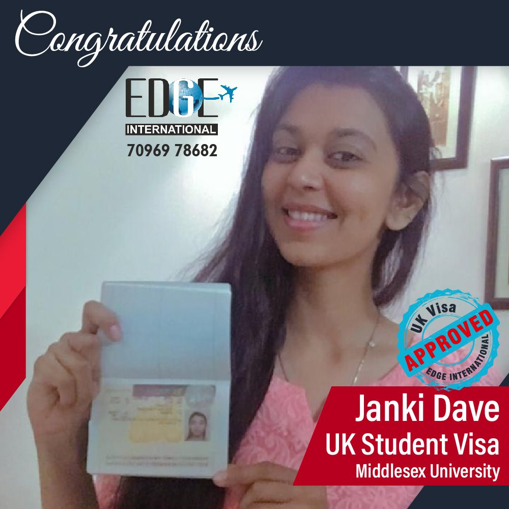 Congratulations 𝗝𝗮𝗻𝗸𝗶 𝗗𝗮𝘃𝗲 for Securing UKStudentVisa at Middlesex Univ