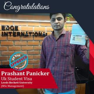 May be an image of 1 person and text that says 'Congratulations S So FE木S中 APPROVED APPROVED EDGE Visa Prashant Panicker Uk Student Visa Leeds Beckett University (MSc Management)'