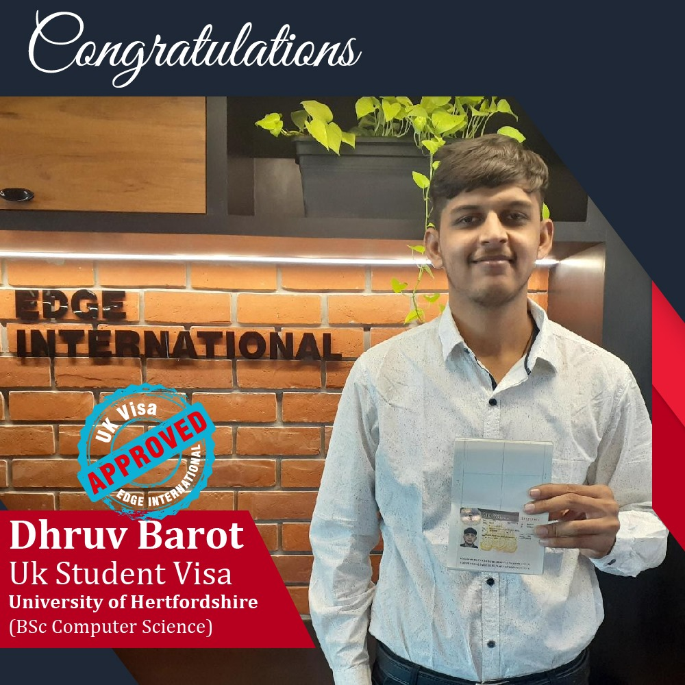 Congratulations 𝗗𝗵𝗿𝘃𝘂 𝗕𝗮𝗿𝗼𝘁 for Securing UKStudentVisa at University of He
