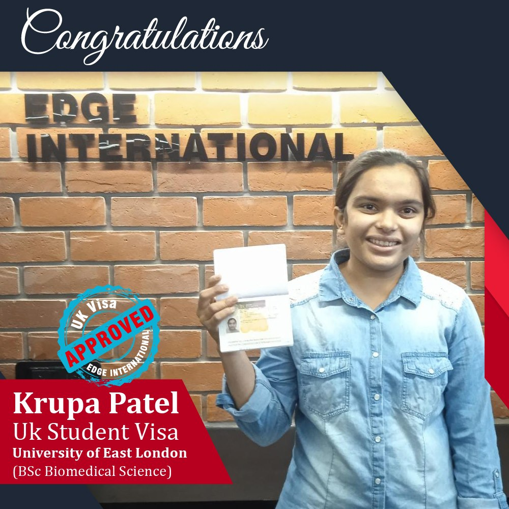 Congratulations 𝗞𝗿𝘂𝗽𝗮 𝗣𝗮𝘁𝗲𝗹 for Securing UKStudentVisa at University of E