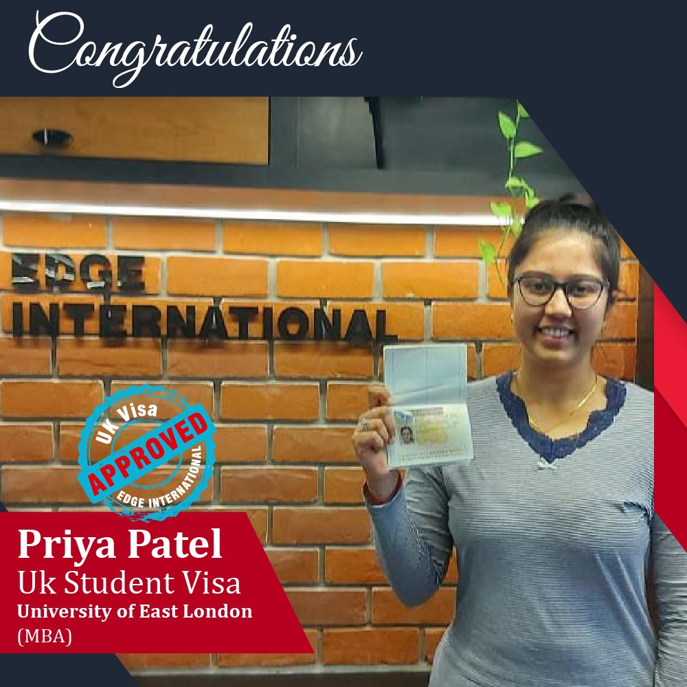 Congratulations 𝗣𝗿𝗶𝘆𝗮 𝗣𝗮𝘁𝗲𝗹 for Securing UKStudentVisa University of East