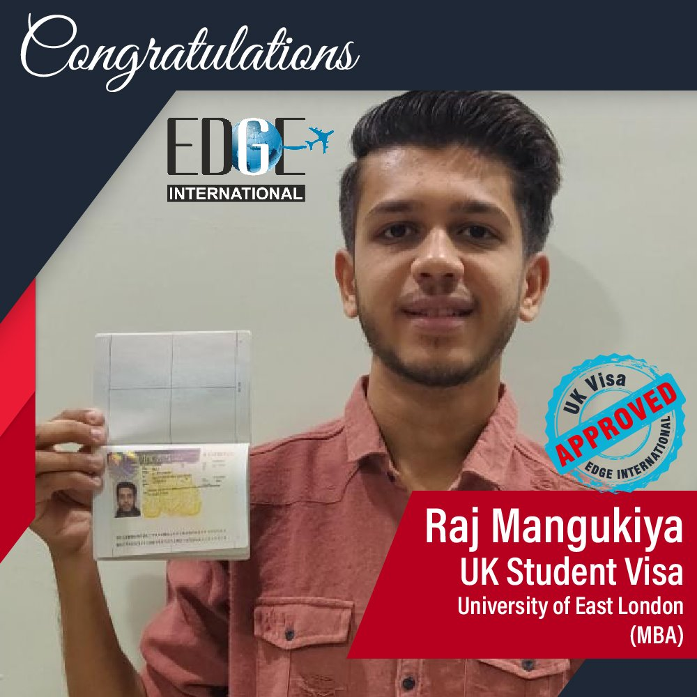 Congratulations 𝗥𝗮𝗷 𝗠𝗮𝗻𝗴𝘂𝗸𝗶𝘆𝗮 for Securing UKStudentVisa at University of