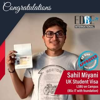 May be an image of 1 person and text that says 'Congratulations EDG INTERNATIONAL NORTON APROVED EDGE Visa Sahil Miyani UK Student Visa LSBU on Campus (BScIT with foundation) MODELS NEWMODELSPRICES. PRICES.'