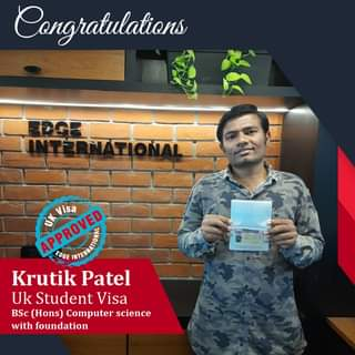 May be an image of 1 person and text that says 'Congratulations APPROVED APPROVED DK Visa EDGE Krutik Patel Uk Student Visa BSc (Hons) Computer science with foundation'