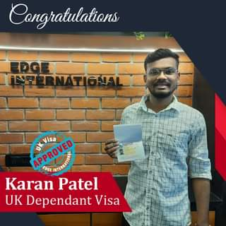 May be an image of 1 person and text that says 'Congratulations TRNT TOJAL APROVED APPROVED EDGE Visa Karan Patel UK Dependant Visa'