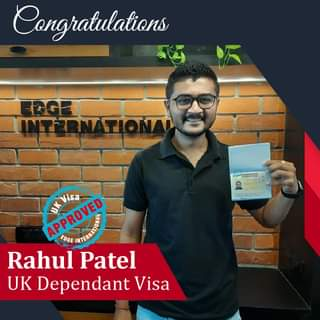 May be an image of 1 person and text that says 'Congratulations APROVED Visa EDGE Rahul Patel UK Dependant Visa'