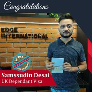 May be an image of 1 person, standing and text that says 'Congratulations APPROVED APPROVED EDGE Visa Samssudin Desai CO UK Dependant Visa'