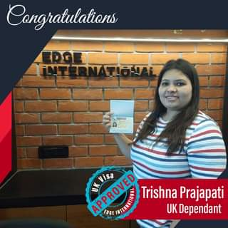 """May be an image of 1 person and text that says """"Congratulations UK APPROVED Visa Trishna Prajapati EDGE UK Dependant"""""""