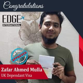 """May be an image of 1 person and text that says """"Congratulations EDGE INTERNATIONAL APPROVED APPROVED EDGE lisa Zafar Ahmed Mulla UK Dependant Visa"""""""