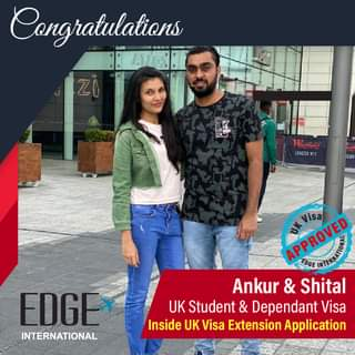 """May be an image of one or more people, people standing and text that says """"Congratulations MO Westheld stheld LONDON DÃN EDGE INTERNATIONAL APPROVED EDGE Visa Ankur & Shital UK Student & Dependant Visa Inside UK Visa Extension Application"""""""