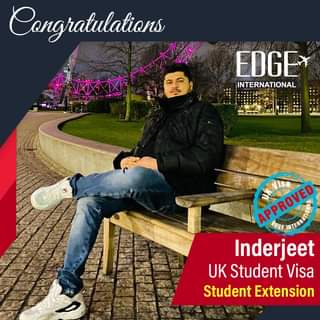 """May be an image of 1 person, outdoors and text that says """"Congratulations EDGE INTERNATIONAL APPROVED APPROVED EDGE Inderjeet UK Student Visa Student Extension"""""""
