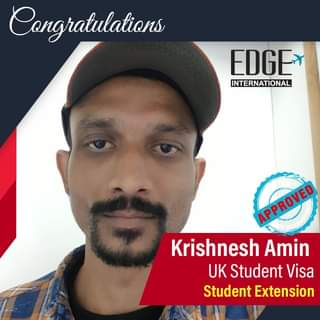 """May be an image of 1 person and text that says """"Congratulations EDGE INTERNATIONAL APPROVED Krishnesh Amin UK Student Visa Student Extension"""""""