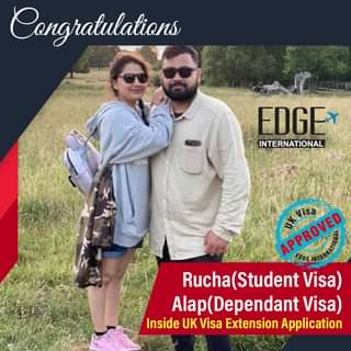 """May be an image of 2 people, people standing, outdoors and text that says """"Congratulations EDGE* INTERNATIONAL APPROVED K-isa Rucha (Student Visa) Alap(Dependant Visa) Inside UK Visa Extension Application"""""""